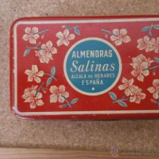 Cajas y cajitas metálicas: CAJA DE LATA ALMENDRAS SALINAS ALCALA DE HENARES CAJAMETALICA-219. Lote 49751141
