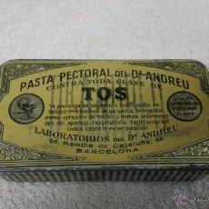 Cajas y cajitas metálicas: CAJA PASTA PECTORAL DEL DR. ANDREU.CONTRA LA TOS.. Lote 49829275