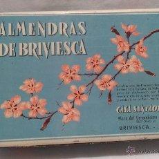 Cajas y cajitas metálicas: CAJA METALICA ANTIGUA DE ALMENDRAS DE BRIVIESCA. Lote 50008287