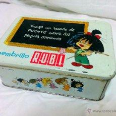 Cajas y cajitas metálicas: CAJA METÁLICA DULCE DE MEMBRILLO RUBI DE PUENTE GENIL. Lote 50416528
