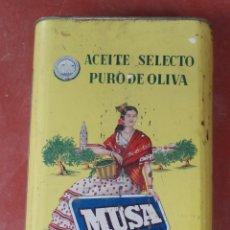 Cajas y cajitas metálicas: CAJA-LATA DE ACEITE MUSA,GRAN TAMAÑO,CÓRDOBA SIN LA TAPA DE ARRIBA,ORIGINAL,VER LAS FOTOS. Lote 50421676