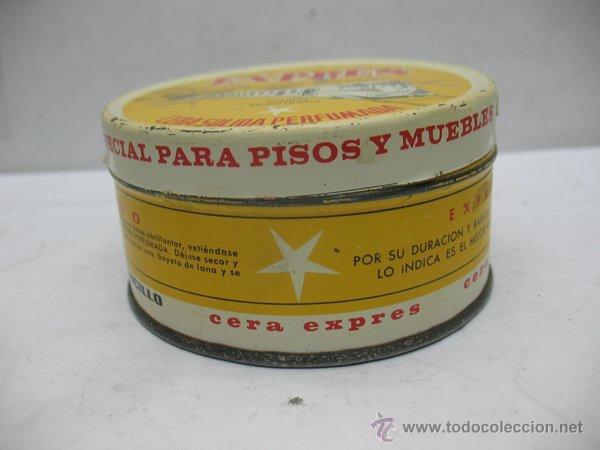 Cajas y cajitas metálicas: Antigua caja metálica circular CERA SÓLIDA PERFUMADA EXPRES especial para pisos y muebles - Foto 3 - 50785715