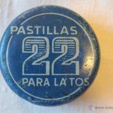 Cajas y cajitas metálicas: CAJA DE LATA DE PASTILLAS 22 PARA LA TOS, LABORATORIO CIURANA, BARCELONA, 5 CM DE DIÁMETRO. Lote 50786485