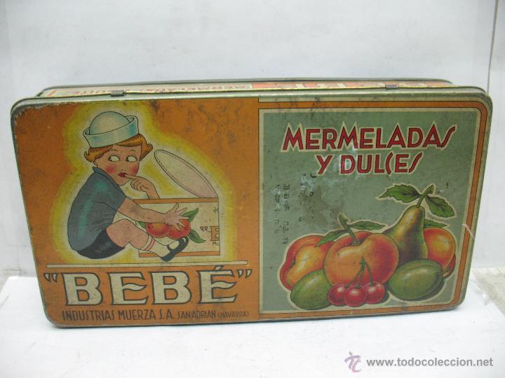 ANTIGUA CAJA METÁLICA MERMELADAS Y DULCES BEBÉ INDUSTRIAS MUERZA (Coleccionismo - Cajas y Cajitas Metálicas)