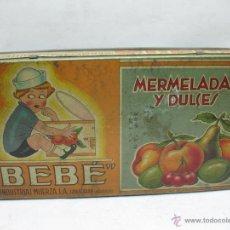 Cajas y cajitas metálicas: ANTIGUA CAJA METÁLICA MERMELADAS Y DULCES BEBÉ INDUSTRIAS MUERZA. Lote 50814640