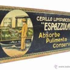 Cajas y cajitas metálicas: PRECIOSA CAJA LATA DE CEPILLO PARA LIMPIAR COCHES ESPAZZOLA. ABSORBE PULIMENTA CONSERVA AÑOS 10 - 20. Lote 50857177