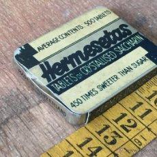 Cajas y cajitas metálicas: CAJA HERMESETAS - HOJALATA SACARINA CRISTALIZADA - RARA. Lote 51073848