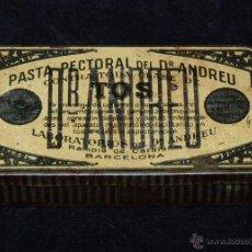 Cajas y cajitas metálicas: ANTIGUA CAJA METÁLICA DE PASTA PECTORAL DEL DR. ANDREU. BACELONA (2). Lote 51554008