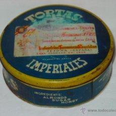 Cajas y cajitas metálicas: CAJA HOJALATA TORTAS IMPERIALES GARCÍA HERMANOS Cª R.C. TURRONES DULCES JIJONA-ALICANTE-AÑO 1930/40 . Lote 51947115