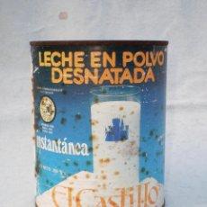 Cajas y cajitas metálicas: BOTE LECHE *EL CASTILLO* LECHE EN POLVO DESNATADA, 250 GR. CONSUMIR AGOSTO DEL 85, LENOSA-LEÓN. Lote 52543561