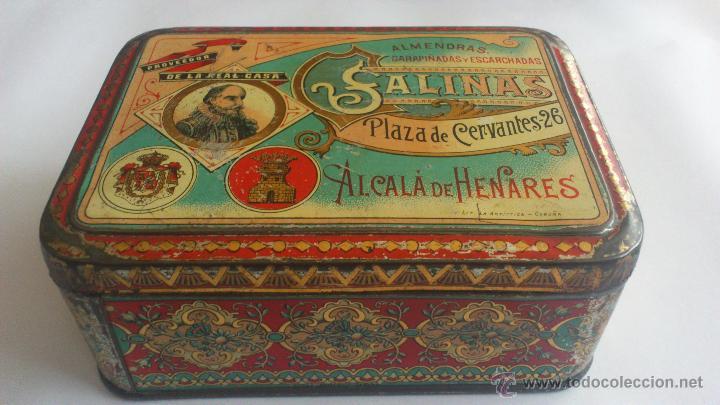 CAJA CHAPA LITOGRAFIADA ALMENDRAS SALINAS, ALCALA DE HENARES (Coleccionismo - Cajas y Cajitas Metálicas)