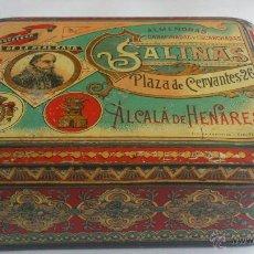 Cajas y cajitas metálicas: CAJA CHAPA LITOGRAFIADA ALMENDRAS SALINAS, ALCALA DE HENARES. Lote 52763977