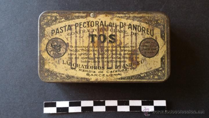 CAJA DE PASTA PECTORAL DEL DR. ANDREU, PARA LA TOS. (Coleccionismo - Cajas y Cajitas Metálicas)