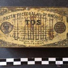 Cajas y cajitas metálicas: CAJA DE PASTA PECTORAL DEL DR. ANDREU, PARA LA TOS.. Lote 52886750