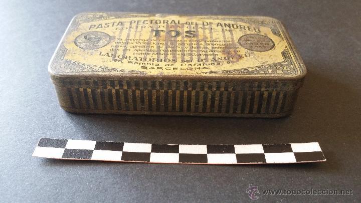 Cajas y cajitas metálicas: Caja de pasta pectoral del Dr. Andreu, para la tos. - Foto 2 - 52886750
