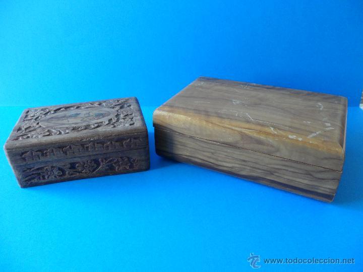 antiguas cajas de madera tallada y sin tallar ideal para restaurar cajas y