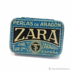 Cajas y cajitas metálicas: ANTIGUA CAJITA METALICA LITOGRAFIADA ZARA PERLAS DE ARAGON. Lote 45358425