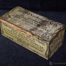 Cajas y cajitas metálicas: GRAN CAJA METÁLICA LITOGRAFIADA DE LITHINES DEL DOCTOR GUSTIN 21X10X8 CM. BACELONA, AÑOS 30. Lote 53816476