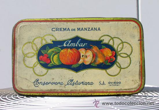 Cajas y cajitas metálicas: ANTIGUA CAJA DE HOJALATA. CREMA DE MANZANA AMBAR. CONSERVERA ASTURIANA. ASTURIAS.OVIEDO. MORE GIJON - Foto 2 - 53843331