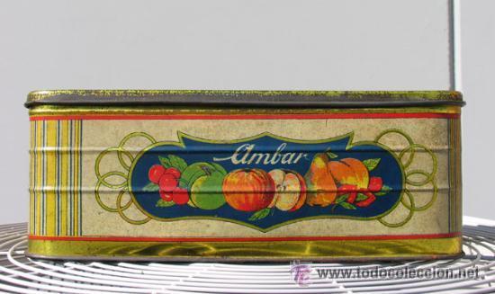 Cajas y cajitas metálicas: ANTIGUA CAJA DE HOJALATA. CREMA DE MANZANA AMBAR. CONSERVERA ASTURIANA. ASTURIAS.OVIEDO. MORE GIJON - Foto 4 - 53843331