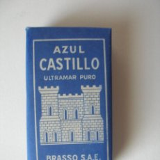 Cajas y cajitas metálicas: AZUL CASTILLO 1 PTA BRASSO BILBAO DEUSTO AÑOS 60 , SIN USO. Lote 179213673