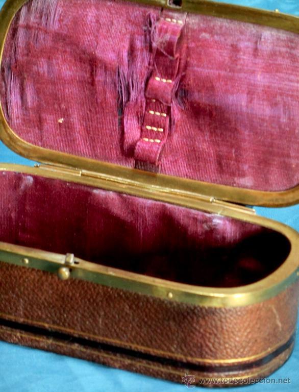 Cajas y cajitas metálicas: ANTIGUA Y MUY BONITA CAJA JOYERO - PIEL Y METAL - PARA TOCADOR O DE VIAJE - NUDO TIPO MARINERO - Foto 4 - 54016986