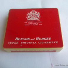 Cajas y cajitas metálicas: BENSON AND HEDGES SUPER VIRGINIA. CAJA VACIA DE TABACO O CIGARRILLOS TIN BOX TOBACCO OR CIGARETTES. Lote 54437966