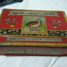 Cajas y cajitas metálicas: LATA ANTIGUA AZAFRANES LA CODORNIZ ANTONIO FUSTER. Lote 54791186