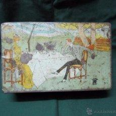 Cajas y cajitas metálicas: ANTIGUA CAJA LATA BADAJOZ CAFE SANGAY ARIAS MONTANO 8 PIEZA DE MUSEO AÑOS 40-50. Lote 55015931