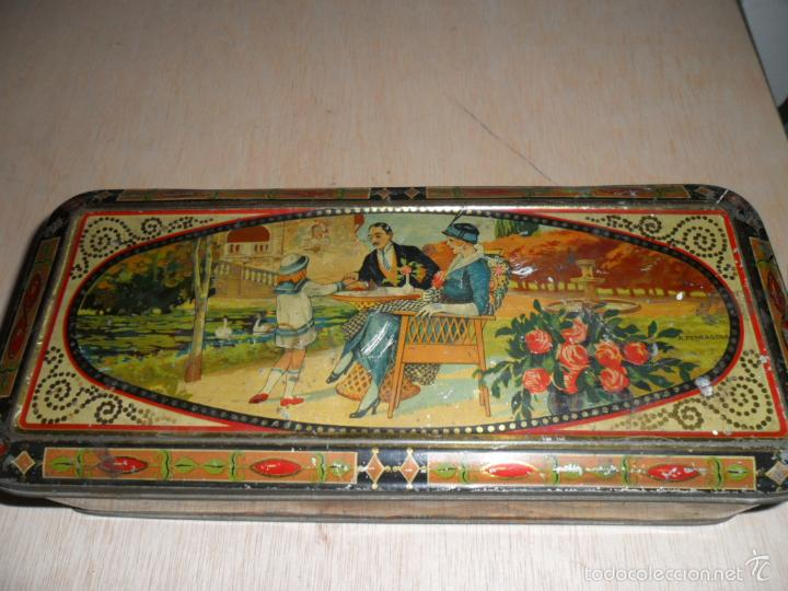 PRECIOSA CAJA DE CHOCOLATES EXQUIS DE LA SUISSE (Coleccionismo - Cajas y Cajitas Metálicas)