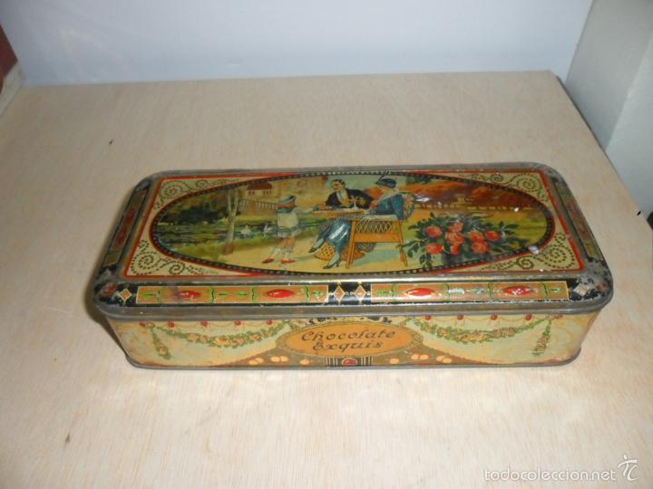Cajas y cajitas metálicas: Preciosa caja de chocolates EXQUIS de LA SUISSE - Foto 2 - 55821303