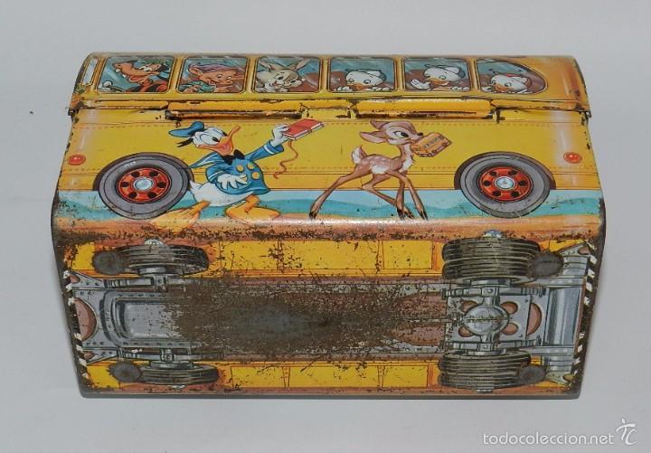 Cajas y cajitas metálicas: Cabás de hojalata litografiada de Walt Disney, Lunch School Bus, USA original años 60 - 70. Medidas - Foto 2 - 154221200