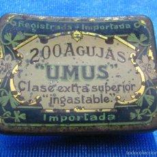 Cajas y cajitas metálicas: UMUS. CAJA DE AGUJAS DE GRAMÓFONO CON MÁS DE 30 AGUJAS. IMPORTADA. Lote 56045881