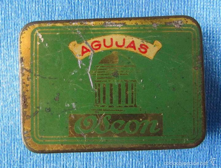 AGUJAS ODEON. CAJA DE AGUJAS PARA GRAMÓFONO VACÍA (Coleccionismo - Cajas y Cajitas Metálicas)
