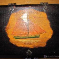 Cajas y cajitas metálicas: CAJA DE MADERA TIPO COFRE PINTADO A MANO. Lote 134850651