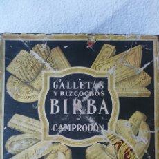 Cajas y cajitas metálicas: CAJA METALICA ANTIGUA DE GALLETAS Y BIZCOCHOS MARCA BIRBA. Lote 56527191
