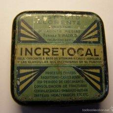 Cajas y cajitas metálicas: CAJA DE MEDICAMENTO INCRETOCAL, INSTITUTO LLORENTE, AÑO 1934.. Lote 56703734
