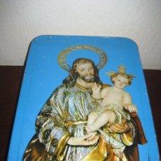 Cajas y cajitas metálicas: LATA DULCE DE MEMBRILLO SAN JOSE Y EL NIÑO. FRANCISCO BAENA JIMENEZ. PUENTE GENIL, CORDOBA 1966. Lote 56880848