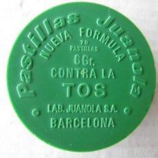 Cajas y cajitas metálicas: CAJITA PLÁSTICO JUANOLA VERDE 4 X 1 CM.. Lote 56978216