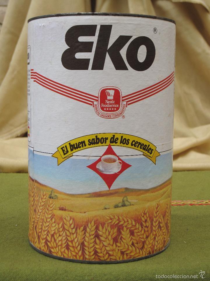BOTE ANTIGUO GRANDE DE CEREALES : EKO - 900 G. (Coleccionismo - Cajas y Cajitas Metálicas)