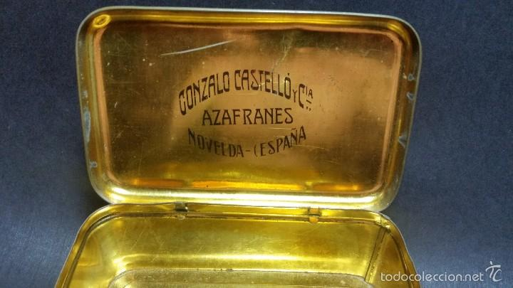 Cajas y cajitas metálicas: CONSERVADA Y ANTIGUA CAJA DE HOJALATA AZAFRÁNES NOVELDA LITOGRAFÍA FOOTBALL GATOS - Foto 3 - 57284111