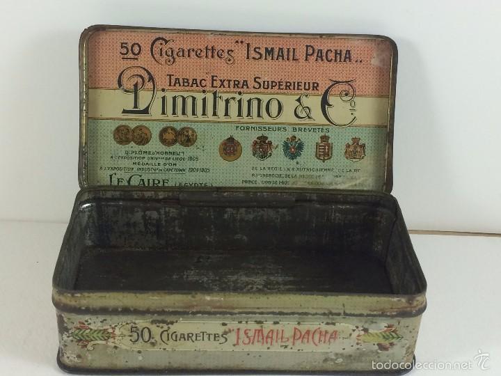 CAJA TABACO DIMITRINO & CO. EGIPTO EL CAIRO - MANUFACTURE DE CIGARETTES 1910 (Coleccionismo - Cajas y Cajitas Metálicas)