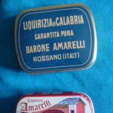 Cajas y cajitas metálicas: LIQUIRIZIA REGALIZ AMARELLI PEQUEÑAS CAJITAS DE LATA COLECCIÓN ROSSANO ITALY 2 UNIDADES. Lote 57465280