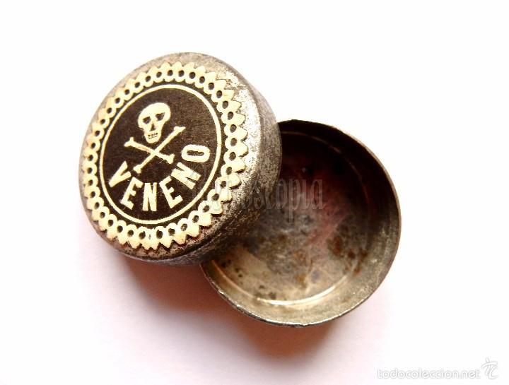 CAJA / CAJAS / CAJITAS DE CHAPA / METAL / LATA DE VENENO. FARMACIA AÑOS 40 - 50 (Coleccionismo - Cajas y Cajitas Metálicas)