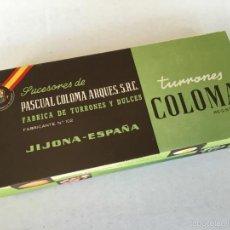 Cajas y cajitas metálicas: ANTIGUA CAJA DE CARTON TURRONES COLOMA - JIJONA. Lote 57840697
