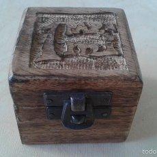 Cajas y cajitas metálicas: CAJITA DE MADERA TALLADA -- 5,5 X 6 X 6 -- CIERRE METÁLICO --. Lote 57877009