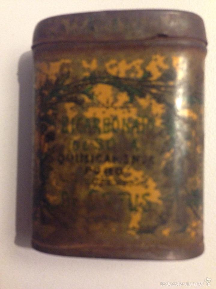 Cajas y cajitas metálicas: Caja de hojalata litografiada de Bicarbonato, años 20?... - Foto 2 - 57934027