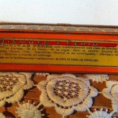 Cajas y cajitas metálicas: CAJA METALICA DE MEDICINA HECHA POR VIVAS PEREZ DE ALMERIA EN 1927+ 40 PLUMILLAS DE REGALO. Lote 57997044