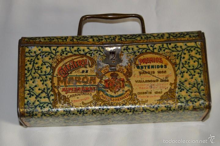 Cajas y cajitas metálicas: VINTAGE - CONFITERIA DE MARON - MADE DE 100 AÑOS - ANTIGUA CAJA DE HOJA LATA - MUY DECORATIVA - Foto 2 - 58159732