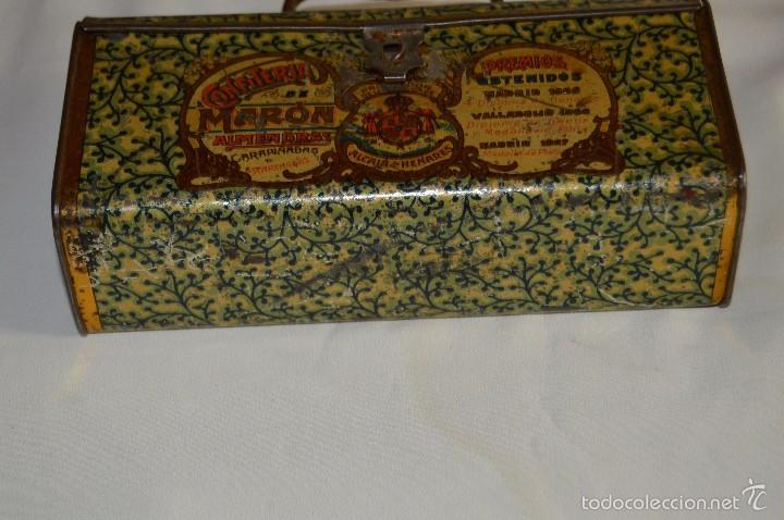 Cajas y cajitas metálicas: VINTAGE - CONFITERIA DE MARON - MADE DE 100 AÑOS - ANTIGUA CAJA DE HOJA LATA - MUY DECORATIVA - Foto 6 - 58159732